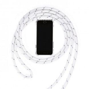 Huawei P30 Necklace Handyhülle aus Gummi mit Kordel Weiss
