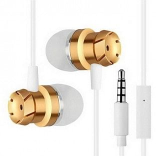 In-Ear Stereo Kopfhörer 3.5mm mit Mikrofon und Fernbedienung weiss / gold