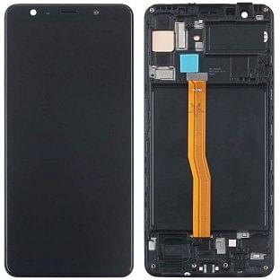 Ersatzdisplay Samsung Galaxy A7 (2018) LCD Digitizer Schwarz mit Rahmen vormontiert