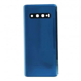 Samsung Galaxy S10 Backcover Akkudeckel Rückschale Blau mit Kamera Linse und Kleber