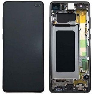 Samsung Galaxy S10 Plus LCD Digitizer Ersatzdisplay + Rahmen Vormontiert Schwarz