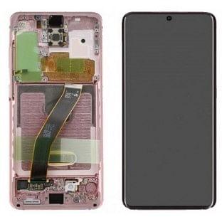Samsung Galaxy S20 (5G) LCD Digitizer Ersatzdisplay + Rahmen Vormontiert Pink