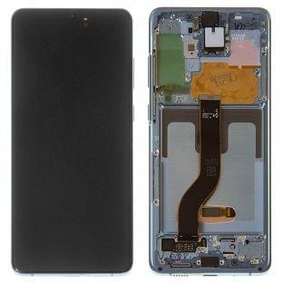 Samsung Galaxy S20 Plus (5G) LCD Digitizer Ersatzdisplay + Rahmen Vormontiert Blau