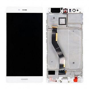 Huawei P9 Plus LCD Ersatzdisplay Weiss mit Rahmen vormontiert