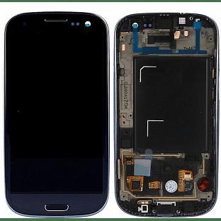 Samsung Galaxy S3 LCD Digitizer Front Ersatzdisplay + Gehäuse OEM Schwarz