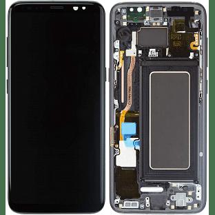 Samsung Galaxy S8 LCD Digitizer Ersatzdisplay + Rahmen Vormontiert Schwarz OEM