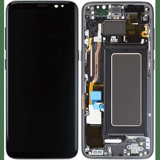 Samsung Galaxy S8 Plus LCD Digitizer Ersatzdisplay + Rahmen Vormontiert Schwarz OEM