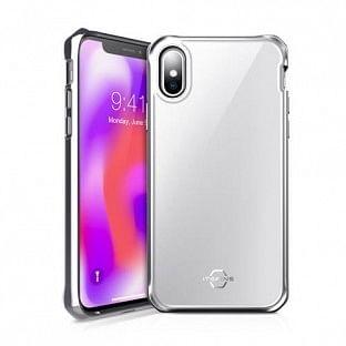 ITSkins iPhone Xs / X Hybrid Glass Schutz Hardcase Hülle (Fallschutz 2 Meter) Weiss / Silber (APHX-IRIDM-SLVR)